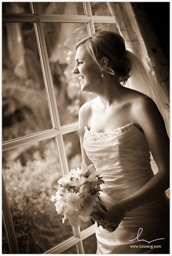 Spanish Hills: Bride looking out window