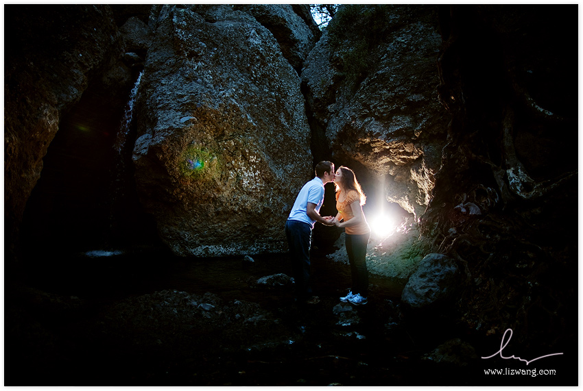 santa monica mountains rocks water engagement session